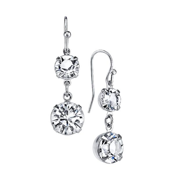Signature Silver-Tone Genuine Swarovski Crystal Double Drop Earrings