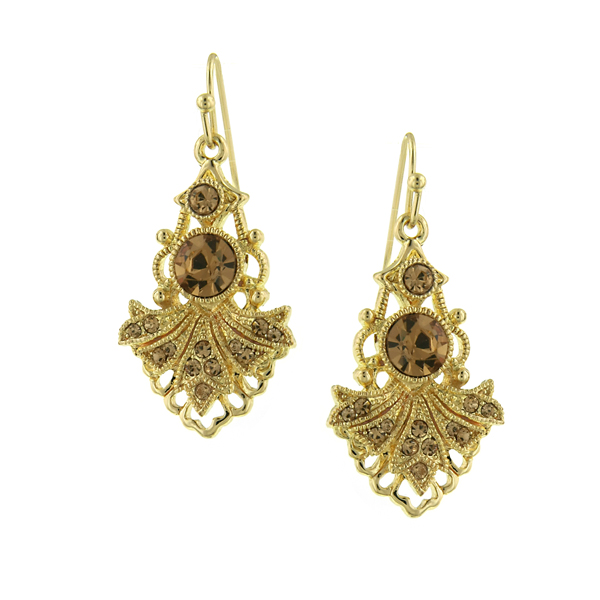 2028 Gold-Tone Light Brown Crystal Vintage-Inspired Drop Earrings