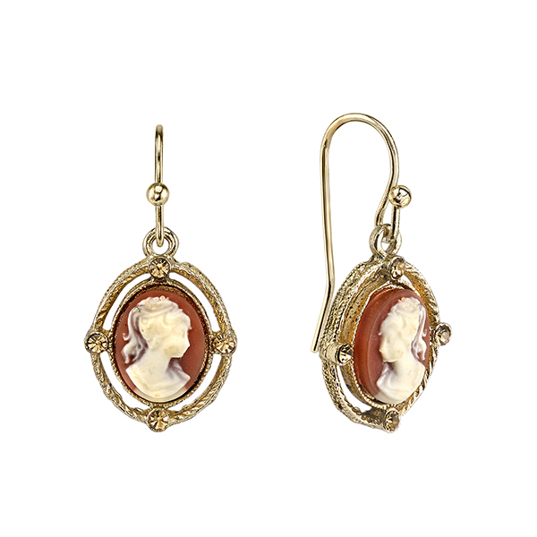 Gold-Tone Faux Carnelian Cameo Drop Earrings