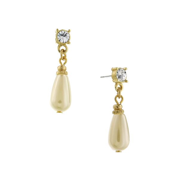 Signature Gold-Tone Faux Pearl Teardrop Earrings