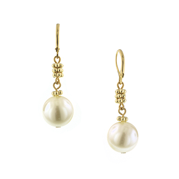 Signature Gold-Tone Simulated Pearl Drop Earrings