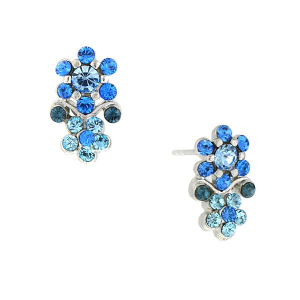 2028 Silver-Tone Blue Crystal Flower Earrings