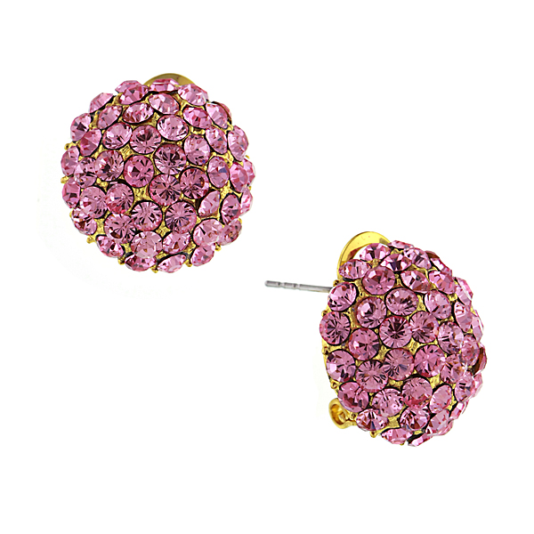 Gold-Tone Pink Crystal Pavé Button Earrings