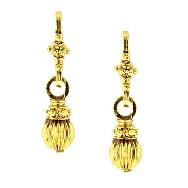 Antiquities Couture Gold-Tone Drop Bead Earring