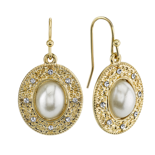 Gold-Tone Simulated Pearl and Crystal Oval Drop Earrings