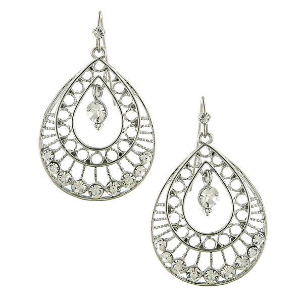 2028 Silver-Tone Crystal Filigree Teardrop Earrings