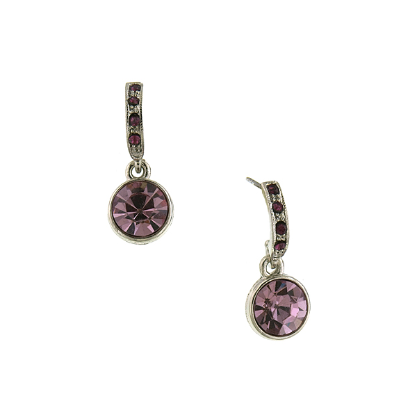 2028 Silver-Tone Amethyst Purple Drop Earrings