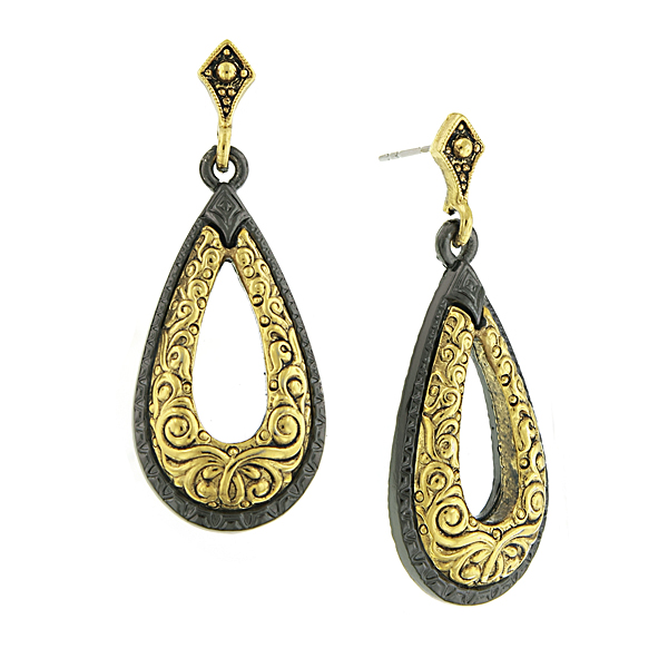Antiquities Couture 14K Gold-Dipped and Black Teardrop Earrings