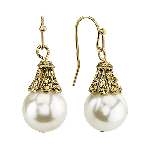 Gold-Tone Faux Pearl Dainty Drop Earrings