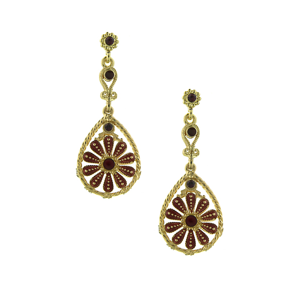 2028 Berry Jewel Daisy Drop Earrings