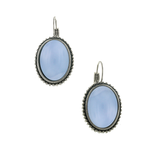 2028 Blue Note Silver-Tone Blue Moonstone Oval Drop Earrings