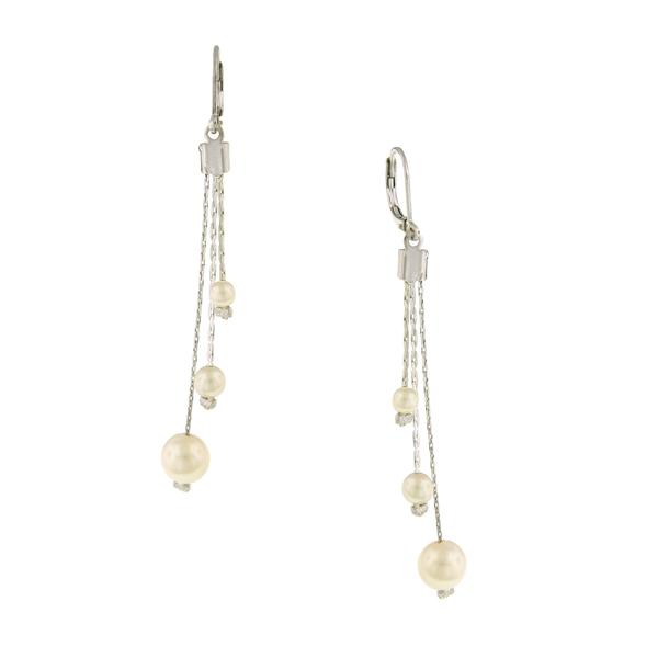 Signature Silver-Tone Faux Pearl Linear Drop Earrings