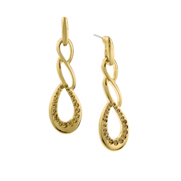 Signature Gold-Tone Light Topaz Crystal Twist Drop Earrings