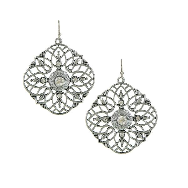 Silver-Tone Crystal Large Filigree Earrings