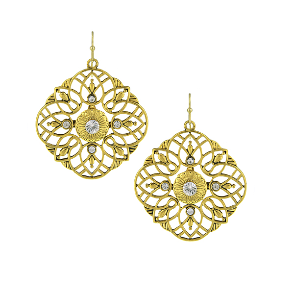 Gold-Tone Crystal Large Filigree Drop Earrings