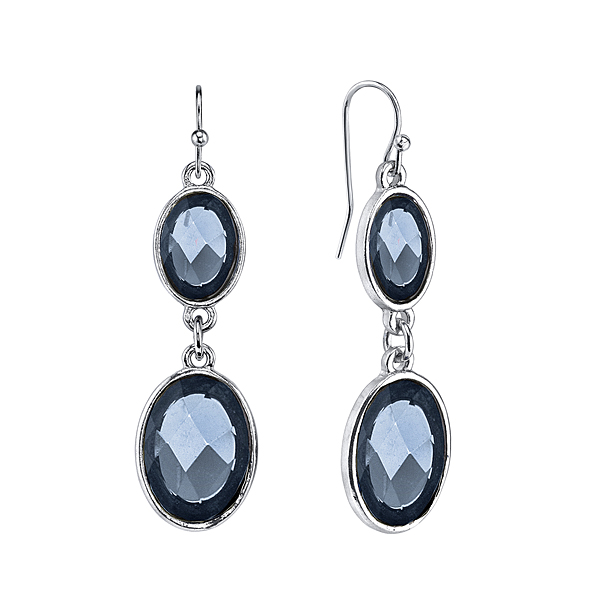 Silver-Tone Blue Faceted Oval Drop Earrings