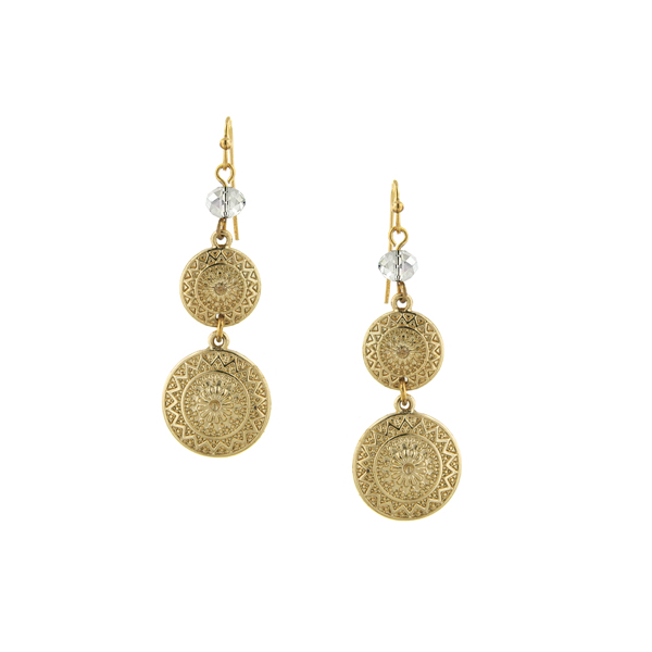 2028 Gold-Tone Crystal Accent Disk Drop Earrings