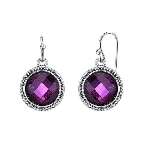 Radiant Orchid Silver-Tone Purple Round Faceted Drop Earrings