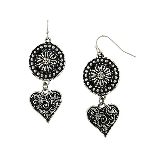Morocco Sunburst & Heart Drop Earrings