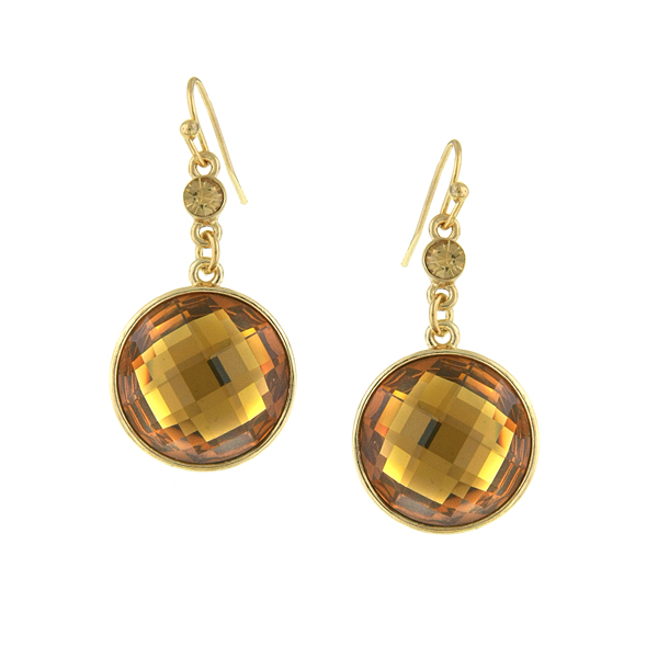 Gold-Tone Topaz Faceted Round Drop Earrings