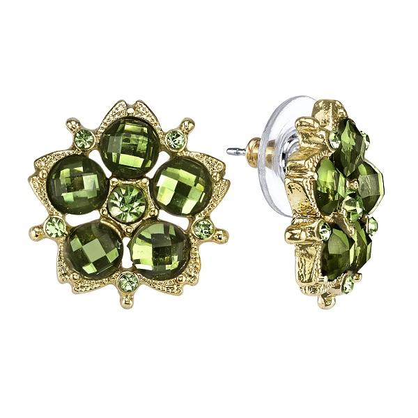 Green Peridot Blossom Button Earrings