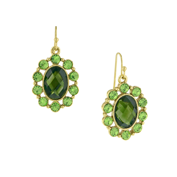 Gleaming Green Peridot Oval Drop Earrings