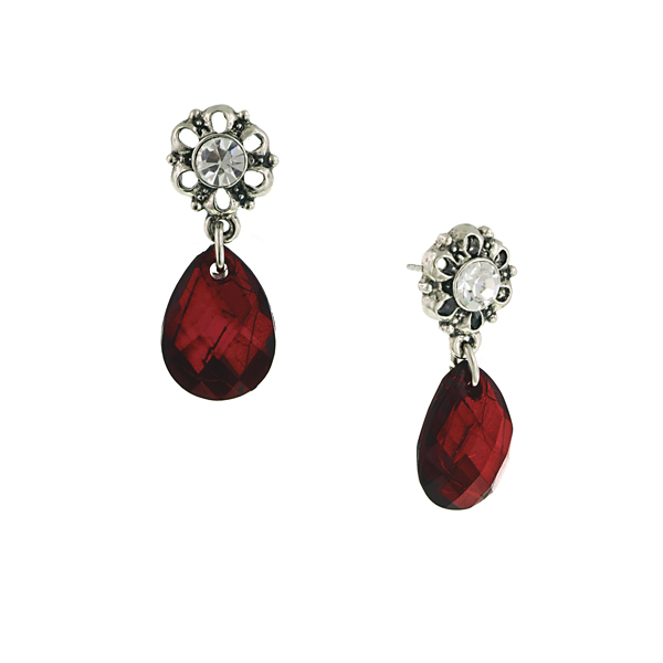 Floral Post Red Siam Teardrop Earrings