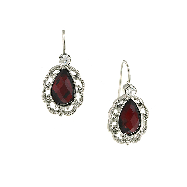 Silver -Tone Filigree RedPetite Pear Drop Earrings