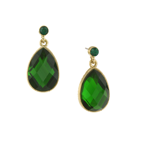 2028 Enjoli Emerald Green Crystal Teardrop Earrings