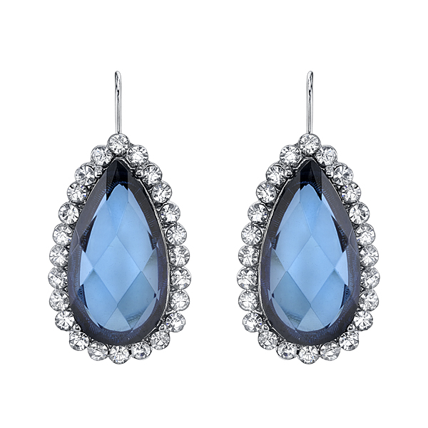 2028 Deschanel Silver-Tone Sapphire Blue and Crystal Pear-Shaped Earrings