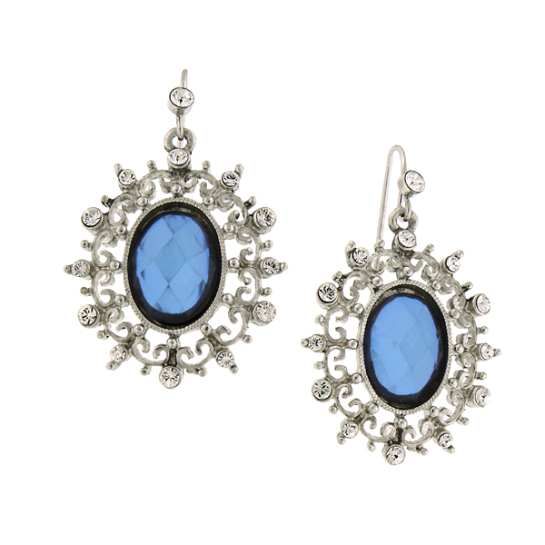 Silver-Tone Sapphire Blue and Crystal Filigree Oval Drop Earrings