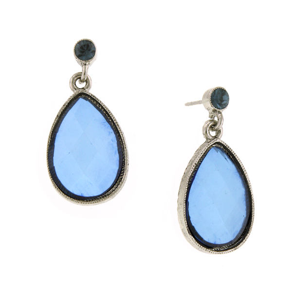 2028 Deschanel Bold Sapphire Blue Teardrop Earrings