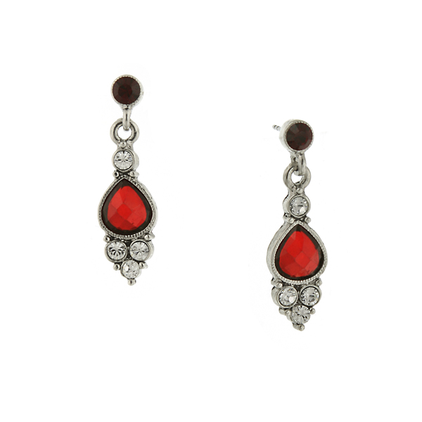 Silver-Tone Red and Crystal Pearshape Drop Earrings