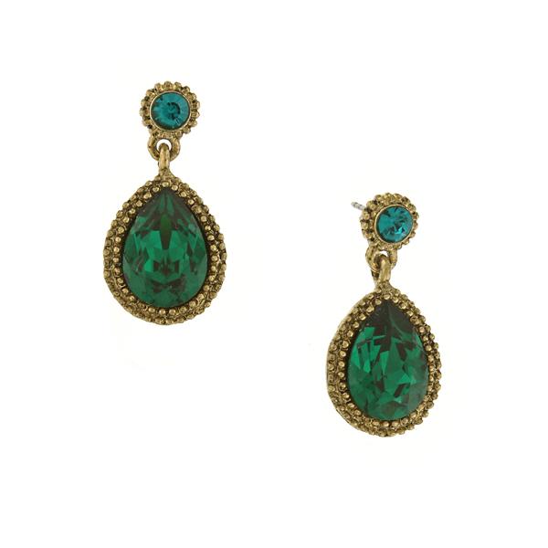 Signature Gold-Tone Emerald Green Faceted Teardrop Earrings