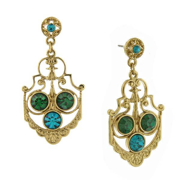 Signature Gold-Tone Emerald Green Fancy Drop Earrings