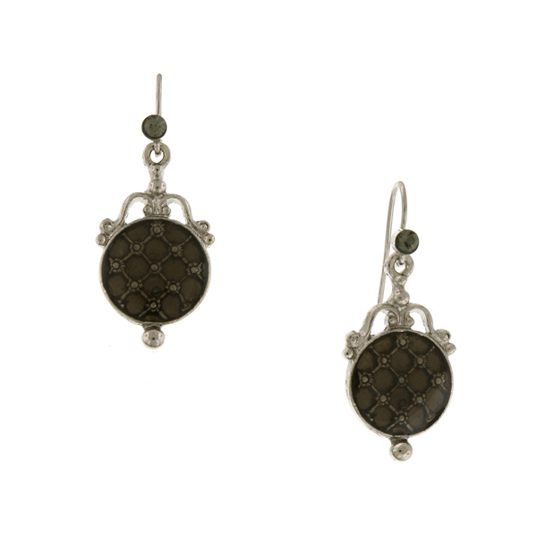 Signature Silver-Tone Black Enamel Drop Earrings