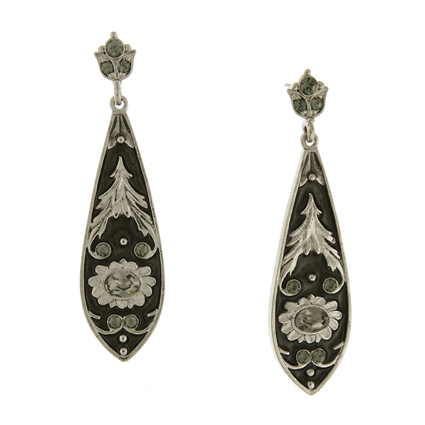 Signature Silver-Tone Black Diamond Crystal Long Drop Earrings