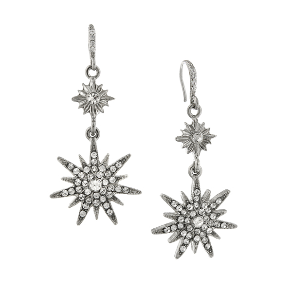 Silver-Tone Crystal Star Drop Earrings