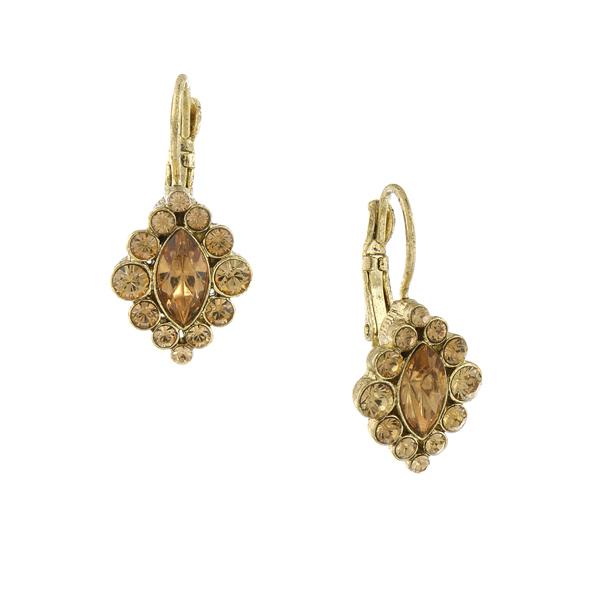 Signature Gold-Tone Light Topaz Crystal Navette Drop Earrings