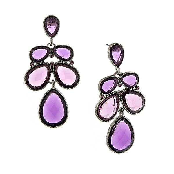 2028 Silver-Tone Purple Faceted Multi-Pear Drop Earrings