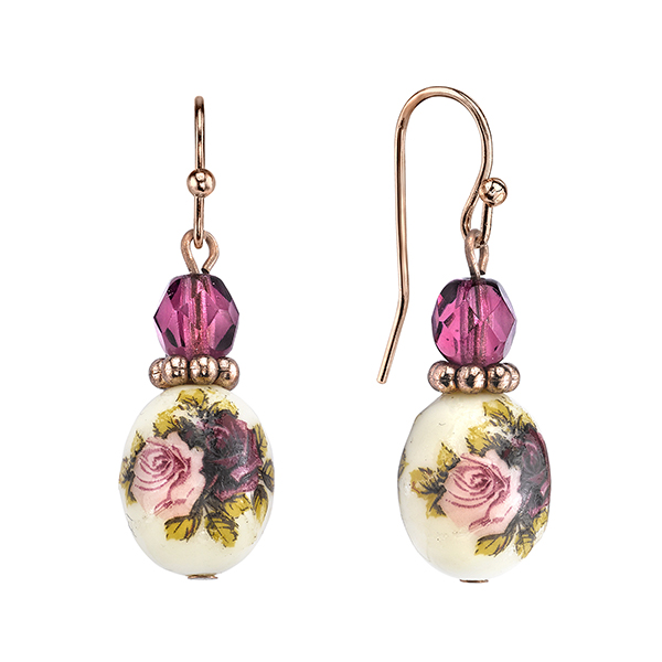 Manor House Rose Gold-Tone Floral Decal Oval Bead Drop Earrings