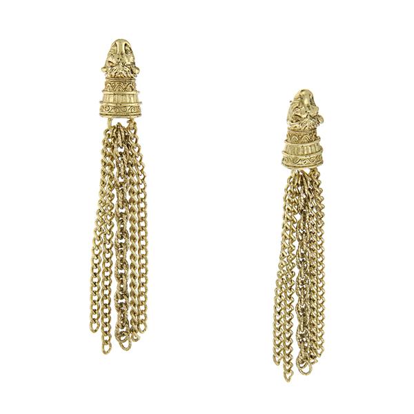 Signature Gold-Tone Chain Tassel Drop Earrings