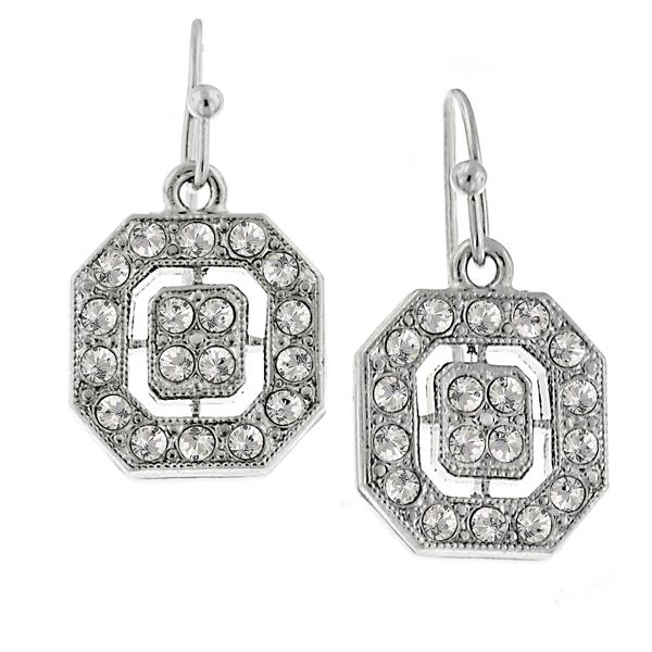 Signature Silver-Tone Crystal Octagon Drop Earrings