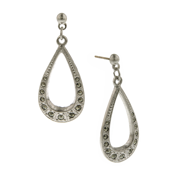 Signature Silver-Tone Marcasite Pear-Shaped Drop Earrings
