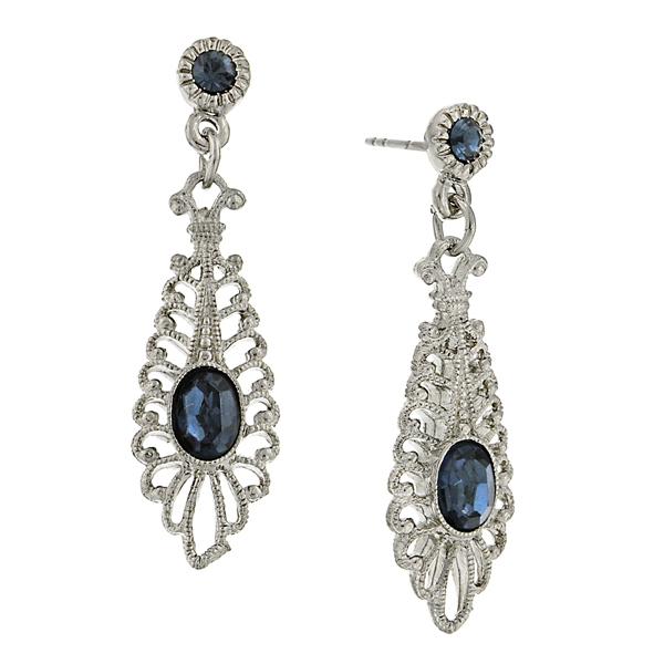 Signature Silver-Tone Blue Filigree Drop Earrings