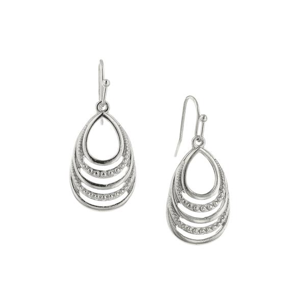 Silver-Tone Open Work Drop Earrings