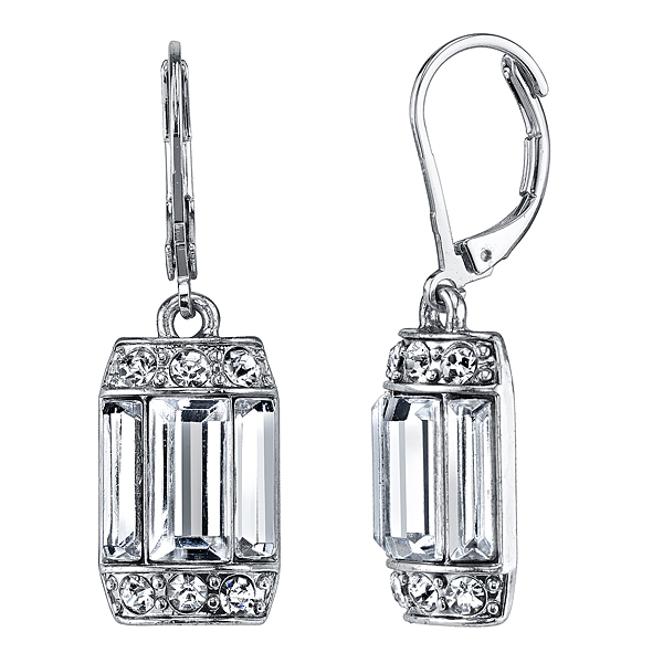 Crystal Glace Silver-Tone Crystal Octagon Drop Earrings