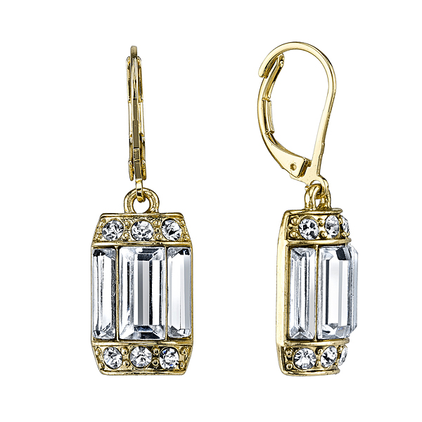 Crystal Glace Gold-Tone Crystal Octagon Drop Earrings