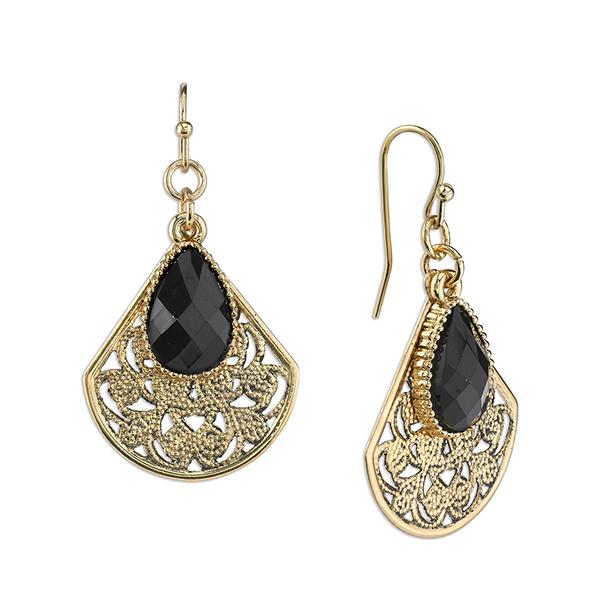 Gold-Tone Black Filigree Teardrop Earrings