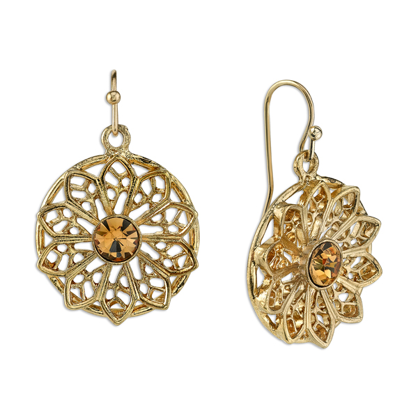 Gold-Tone Light Topaz Crystal Flower Filigree Drop Earrings